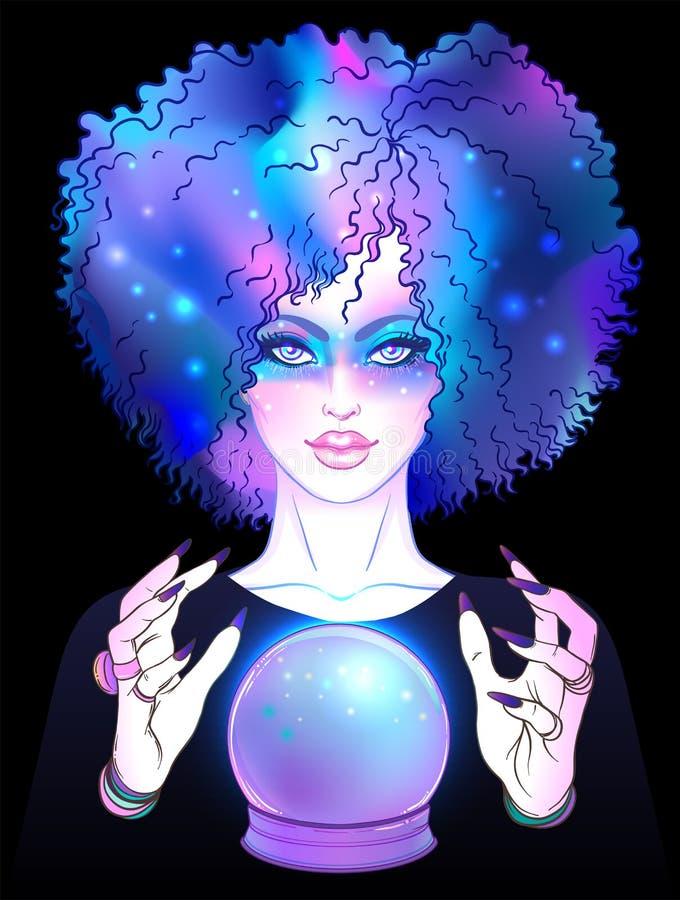 Fortuneteller met kristallen bol Griezelige leuke vectorillustratie vector illustratie