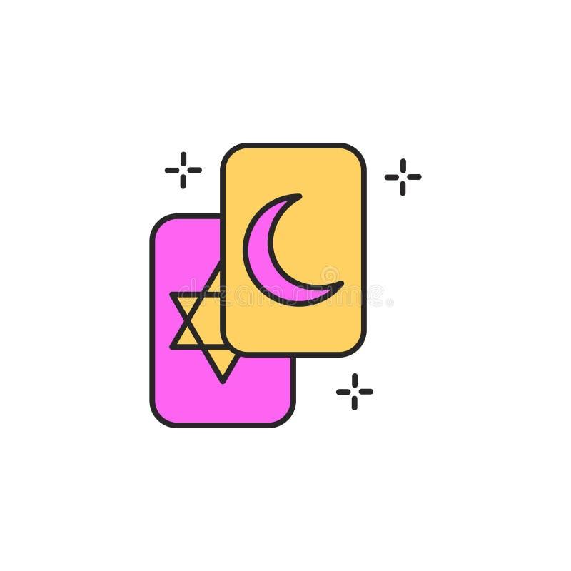 fortunetelling grępluje ikonę Element magiczna ikona dla mobilnych pojęcia i sieci apps Koloru fortunetelling kart ikona może uży ilustracja wektor