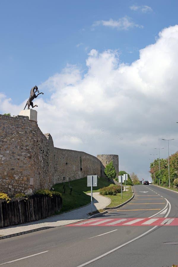 Fortväggar med häststatyn Pecs royaltyfria foton