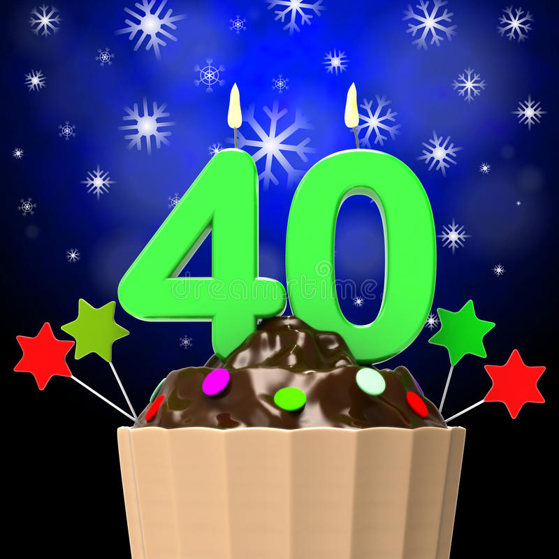 Forty Candle On Cupcake Means Forty Years stock illustration
