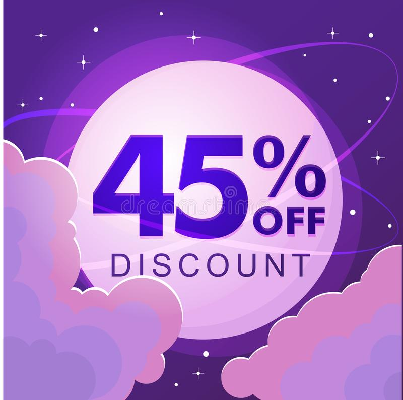 Forty five percent discount Numbers against the night sky vector illustration