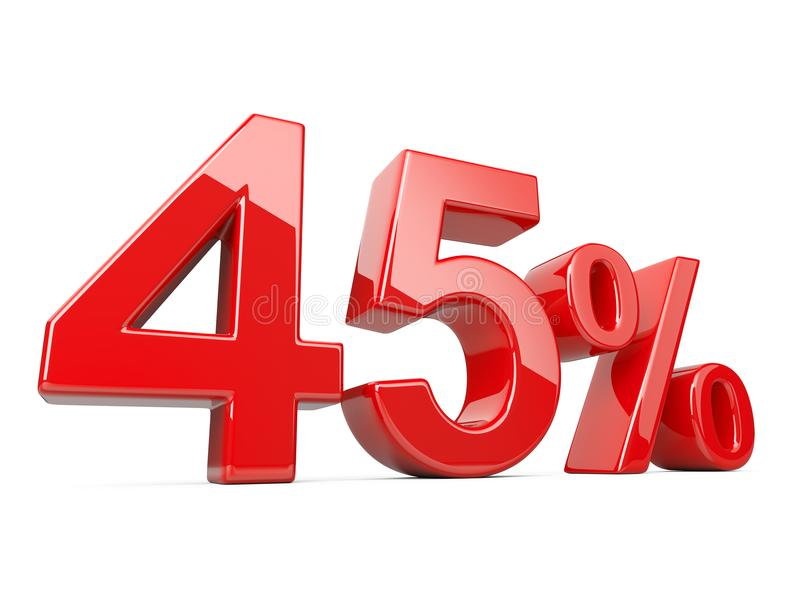 Forty five red percent symbol. 45% percentage rate. Special offer discount. vector illustration