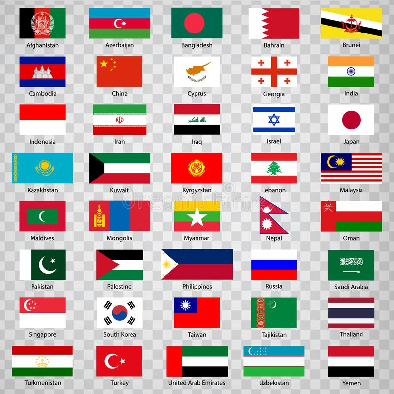 Forty flags of Asian countries. List of  Forty flags of Asia countries with inscriptions and original proportions on transparent b. Ackground. Flags for your web royalty free illustration