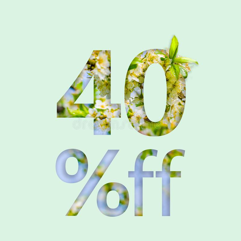 40% forty percent off discount. The creative concept of spring sale, stylish poster, banner, promotion, ads. stock photography