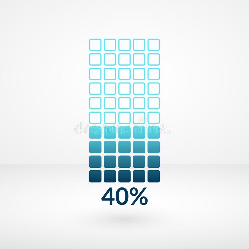 Forty percent square chart isolated symbol. Percentage vector infographic 40% icon for business, finance, web. Forty percent square chart isolated symbol royalty free illustration