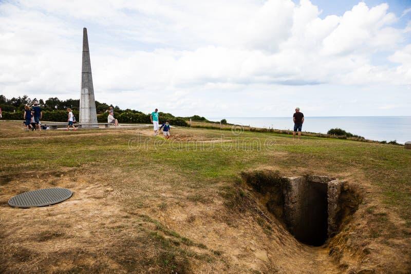 Fortyfikacje przy Omaha plażą i okopy, Normandy, Francja obrazy royalty free