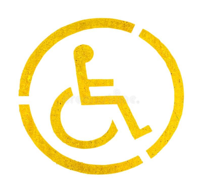 Foru parking żółty znak na asfalcie, persons z kalectwami zdjęcie royalty free