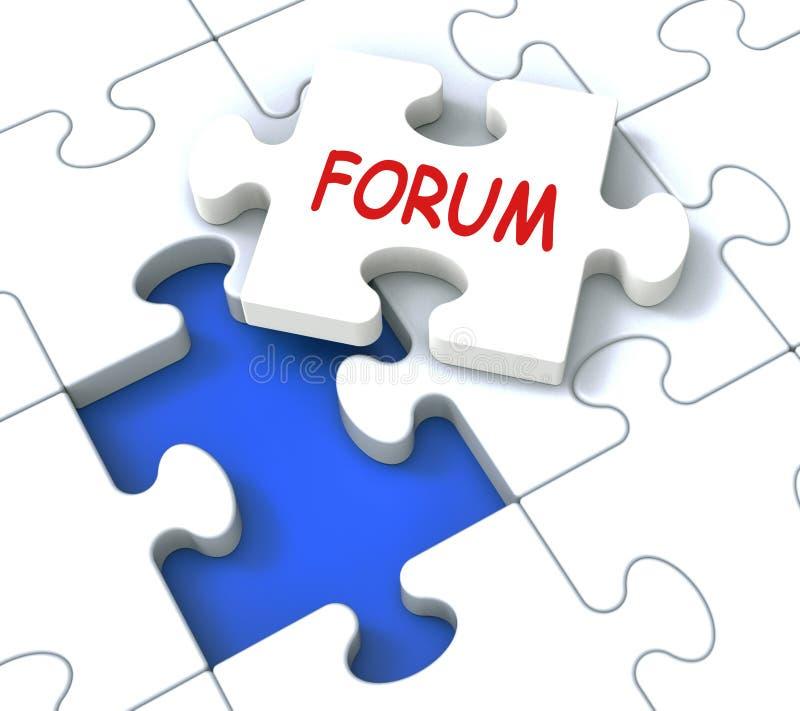 Forum łamigłówka Pokazuje Online społeczności rada I dyskusję ilustracja wektor