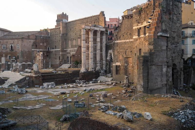 The Forum of Augustus in Rome, italy. Remains of the Forum of Augustus, one of the Imperial forums of Rome, Italy. Built by Augustus it includes the Temple of royalty free stock photography