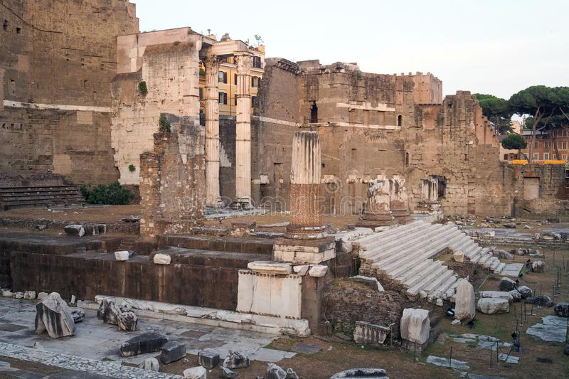 The Forum of Augustus in Rome, italy. Remains of the Forum of Augustus, one of the Imperial forums of Rome, Italy. Built by Augustus it includes the Temple of stock photography