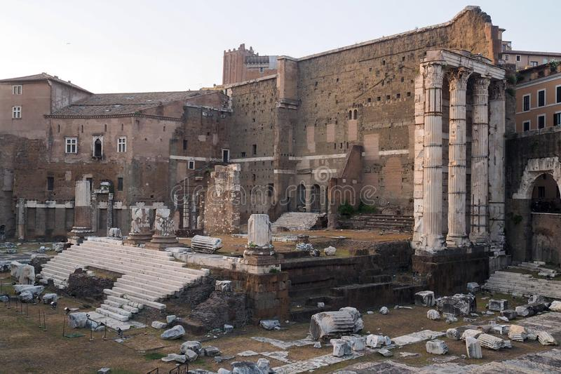 The Forum of Augustus in Rome, italy. Remains of the Forum of Augustus, one of the Imperial forums of Rome, Italy. Built by Augustus it includes the Temple of royalty free stock image