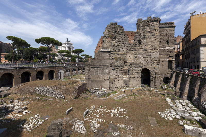 Forum of Augustus in Rome, Italy. The Forum was built to celebrate Augustus's victory over Julius Caesar's assassins, Brutus and Cassius, at the Battle of stock image
