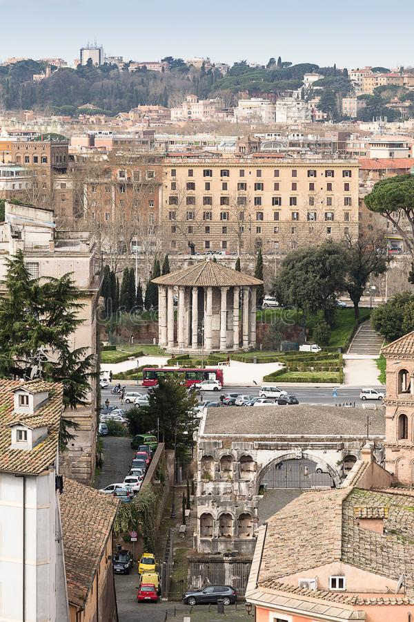 Forum Boarium, Tempel van Hercules Victor, Rome, Italië, Europa stock foto's