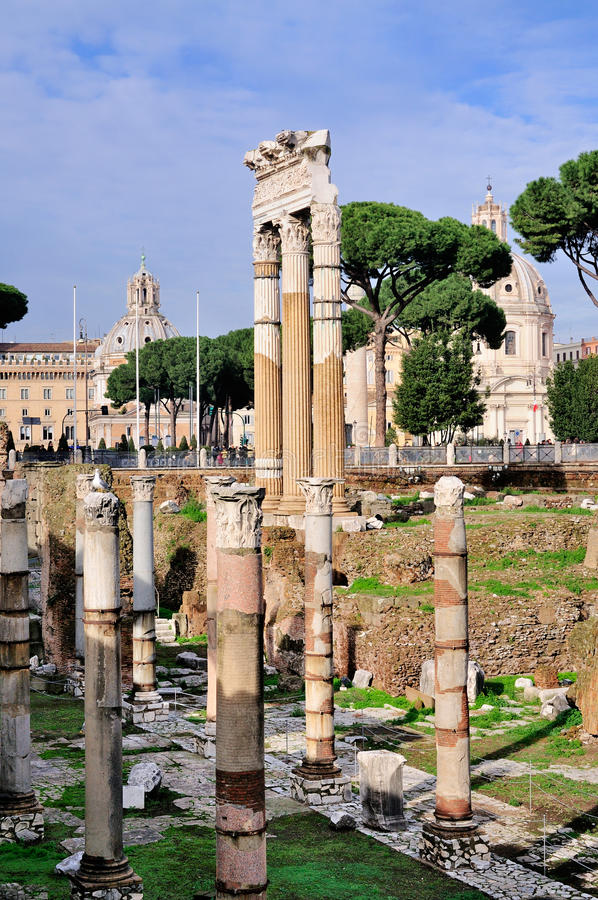 Forum of Caesar, Rome. The Roman ruins of the Forum of Caesar in Rome, Italy stock photos