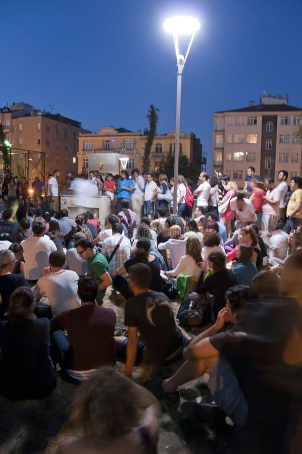 Forum del parco di Cihangir, proteste del parco di Gezi in Turchia fotografia stock libera da diritti