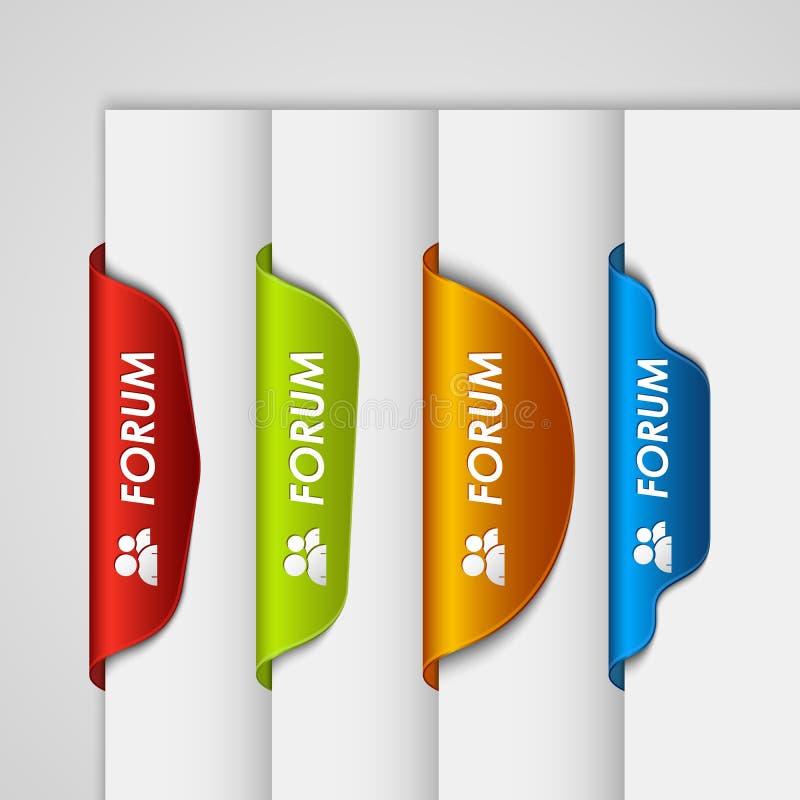Forum del segnalibro dell'etichetta di colore sull'orlo della pagina Web royalty illustrazione gratis