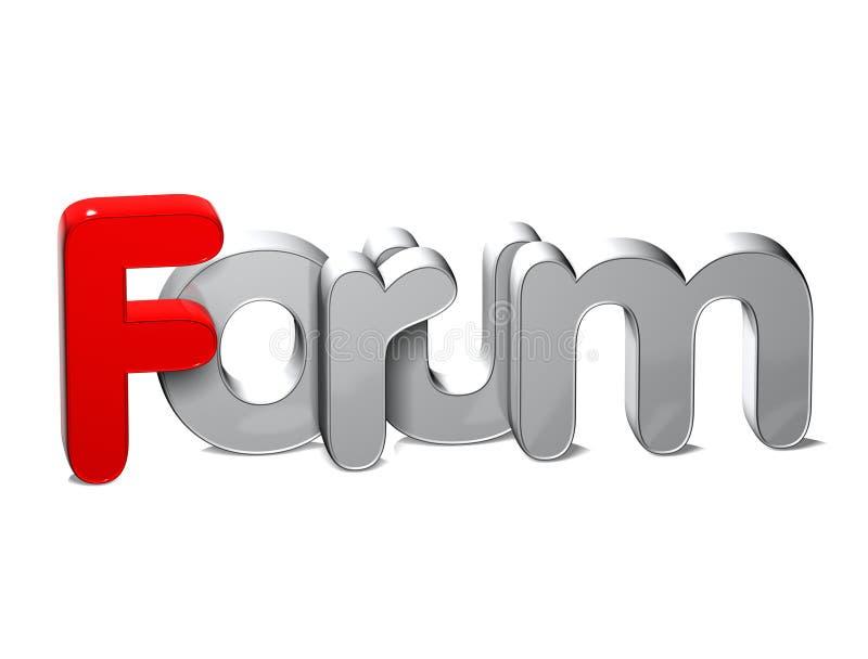 forum di parola 3D sopra fondo bianco illustrazione di stock