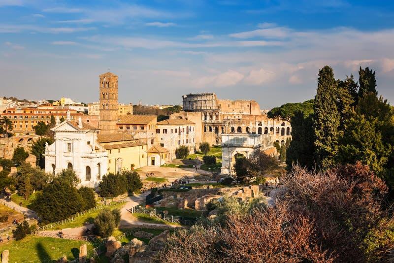 Forum en Coliseum in Rome royalty-vrije stock foto's