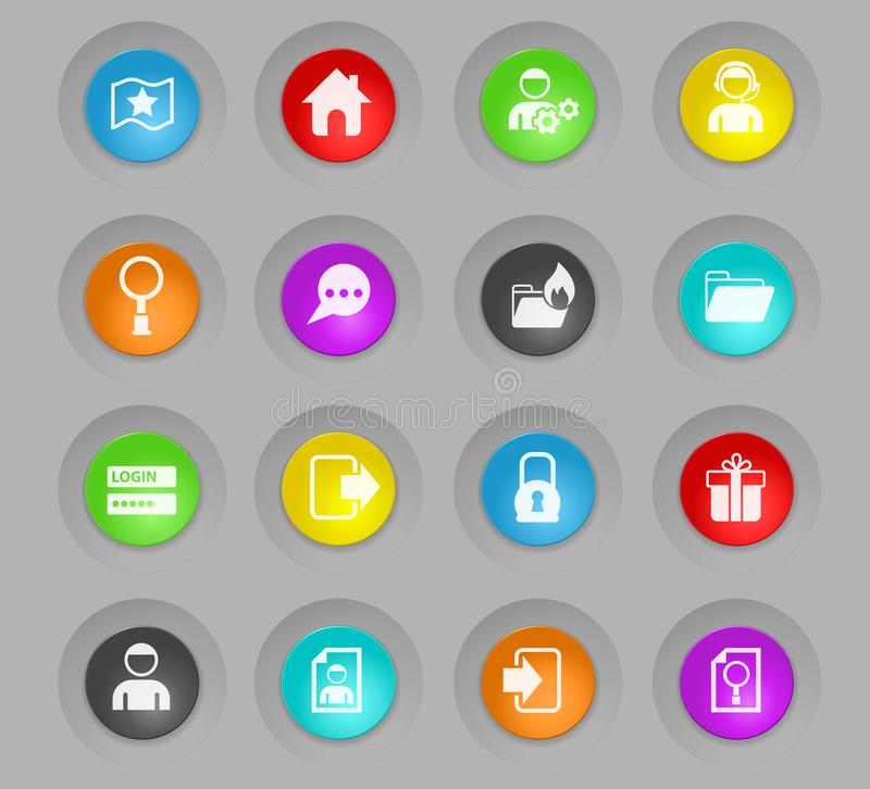 Forum interface colored plastic round buttons icon set. Forum interface colored plastic round buttons vector icons for web and user interface design vector illustration