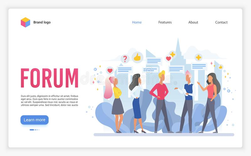 Forum landing page flat vector template stock illustration