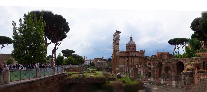 Forum Magnum or Forum - the main public market in Rome, the center of Roman civilization. Between Capitol and Palatine. The Roman Forum in Latin: Forum Romanum stock photos
