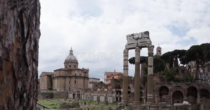 Forum Magnum or Forum - the main public market in Rome, the center of Roman civilization. Between Capitol and Palatine. The Roman Forum in Latin: Forum Romanum stock photography