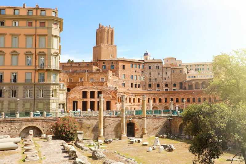 Forum and Market of Trajan in Rome, Italy. Famous old Trajan Forum is one of the main tourist attractions in the city. Ancient Roman architecture and ruins of stock images