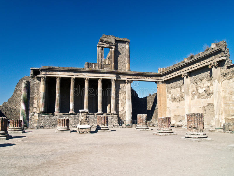 Forum of Pompei, Italy. Ruins of the forum of Pompei, Italy stock photography