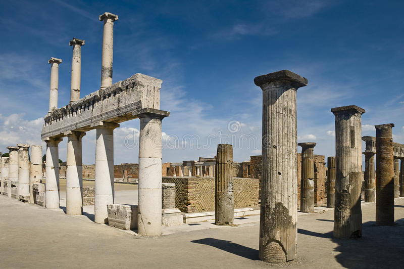 The forum in Pompeii, Italy. The antique forum in Pompeii, Italy royalty free stock photography