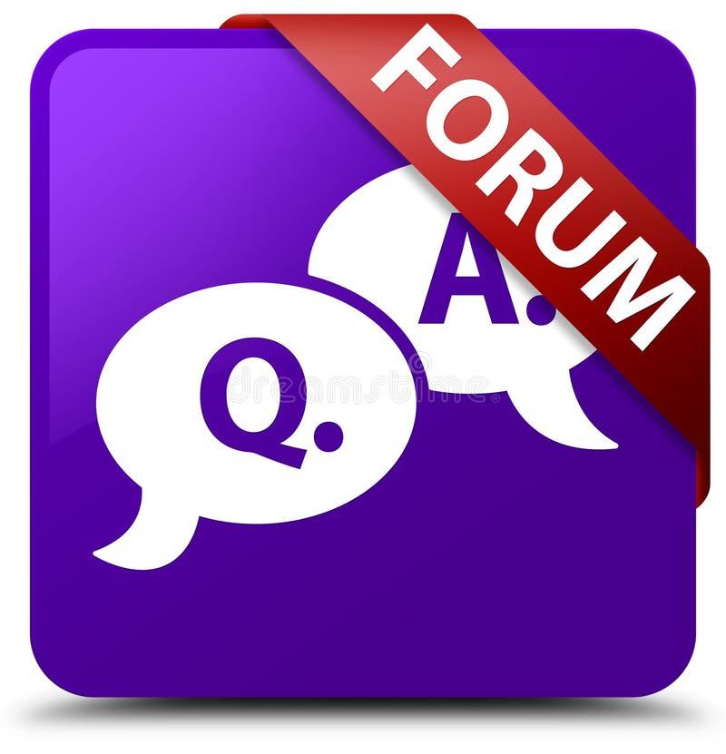 Forum (question answer bubble icon) purple square button red rib royalty free illustration