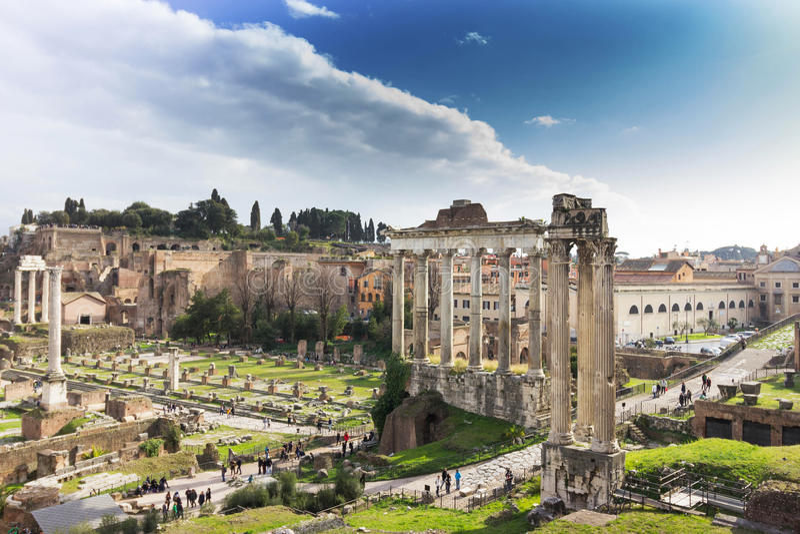 Forum Roman ruins in Rome stock photo
