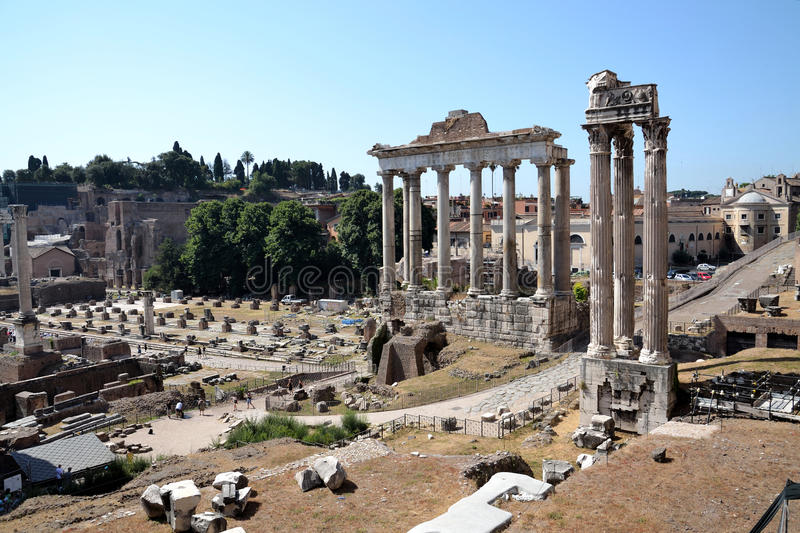 Forum Romanum in Rome, Italy. Ruins of the Temple of Saturn at Forum Romanum in Rome, Italy royalty free stock photography