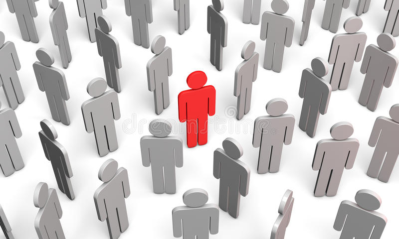 Forum (symbolic figures of people). Standing Out from the Crowd. Available in high-resolution and several sizes to fit the needs of your project royalty free illustration
