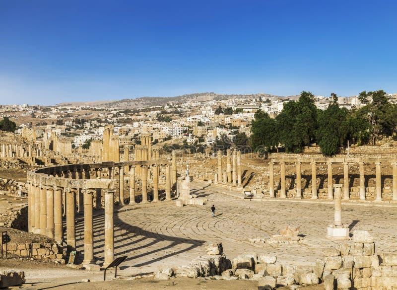 Forum w antycznym Romańskim mieście Gerasa, Jerash, fotografia stock