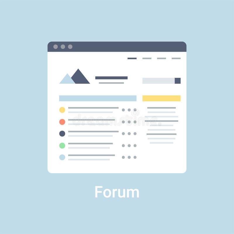 Forum Wireframe. Forum website wireframe interface template. Flat vector illustration on blue background stock illustration