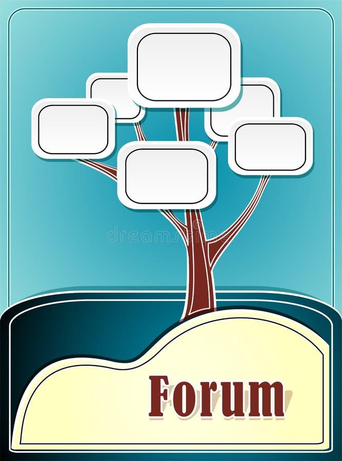 Forumboom of de marine van de concepteninformatie backgroun stock illustratie