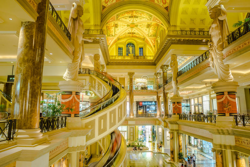 Forumet shoppar, sikten från det andra golvet på Caesars Palace i Las arkivbild