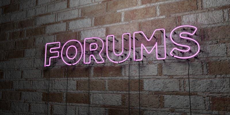 FORUMS - Gloeiend Neonteken op metselwerkmuur - 3D teruggegeven royalty vrije voorraadillustratie royalty-vrije illustratie