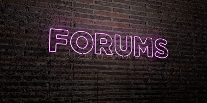 FORUMS - Realistisch Neonteken over Bakstenen muurachtergrond - 3D teruggegeven royalty vrij voorraadbeeld royalty-vrije illustratie