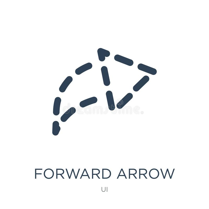 forward arrow with broken line icon in trendy design style. forward arrow with broken line icon isolated on white background. royalty free illustration