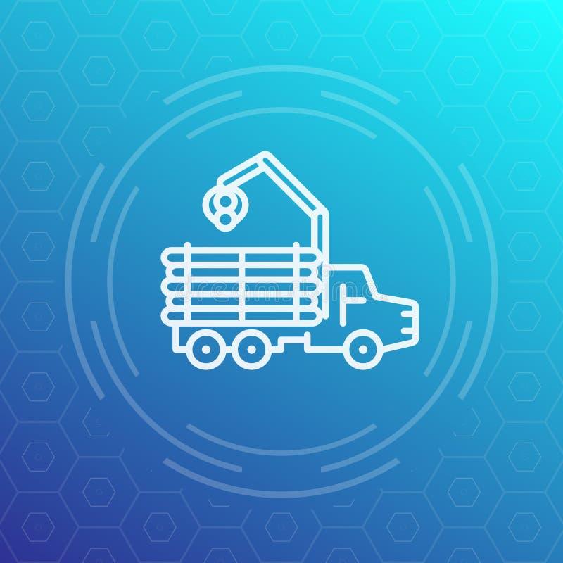 Forwarder, drwal, notuje ciężarówki kreskową ikonę ilustracja wektor