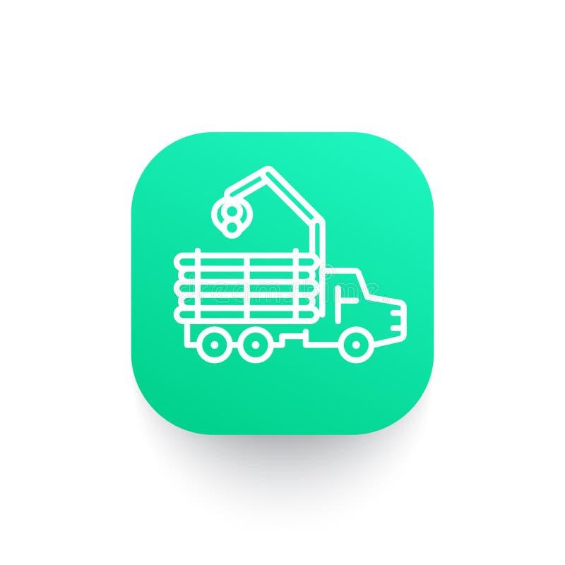 Forwarder ikona, notuje ciężarówkę, leśny pojazd ilustracji