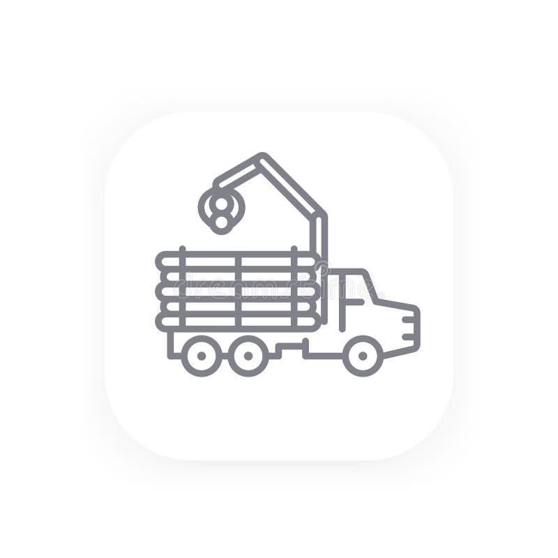 Forwarder kreskowa ikona, notuje ciężarówkę ilustracji
