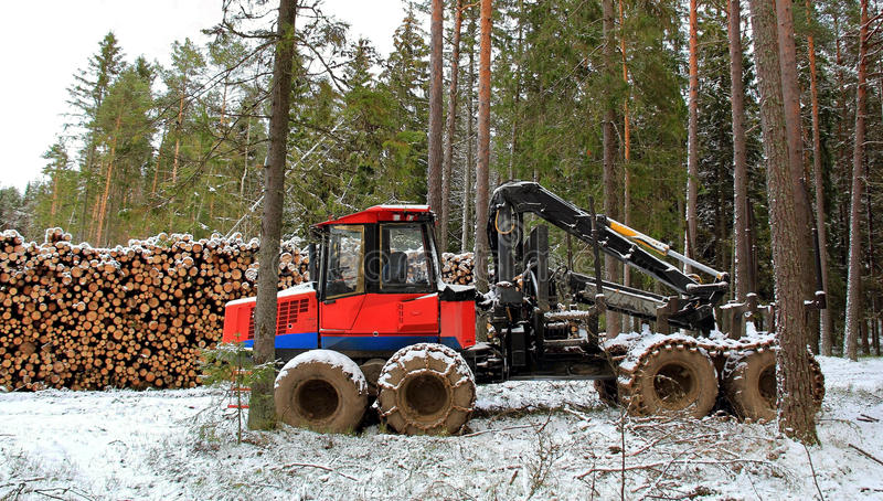 Forwarder at Winter Logging Site stock photo
