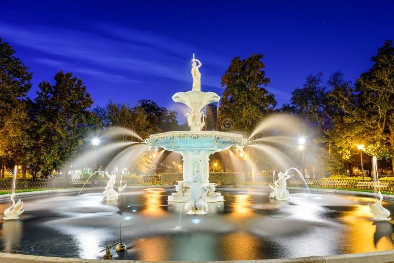 Forysth Park in Savannah, Georgia. stock photo
