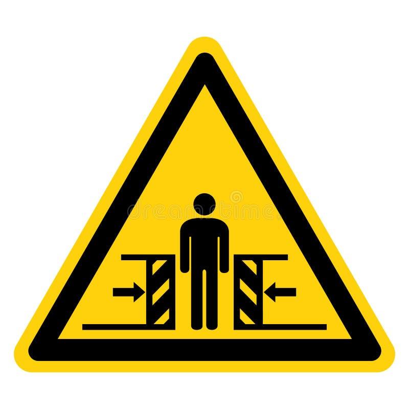 Forza di schiacciamento del corpo dal segno di simbolo di due lati, illustrazione di vettore, isolato sull'etichetta bianca del f illustrazione vettoriale