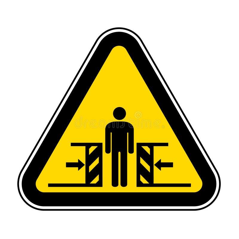 Forza di schiacciamento del corpo dal segno di simbolo di due lati, illustrazione di vettore, isolato sull'etichetta bianca del f royalty illustrazione gratis