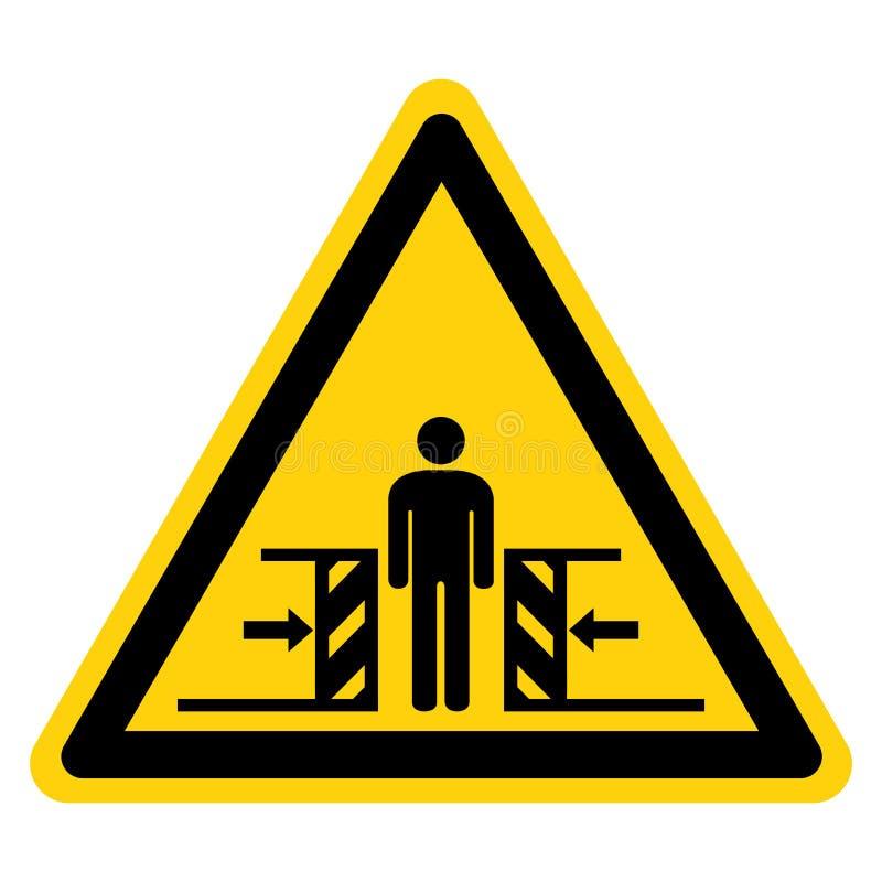 Forza di schiacciamento del corpo dall'isolato del segno di simbolo di due lati su fondo bianco, illustrazione di vettore illustrazione vettoriale