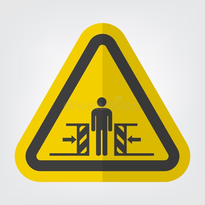 Forza di schiacciamento del corpo dall'isolato del segno di simbolo di due lati su fondo bianco, illustrazione di vettore royalty illustrazione gratis