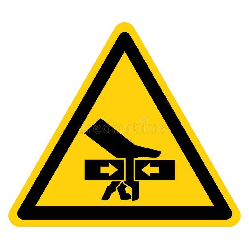 Forza di schiacciamento della mano dal segno di simbolo di due lati, illustrazione di vettore, isolato sull'etichetta bianca del  illustrazione di stock